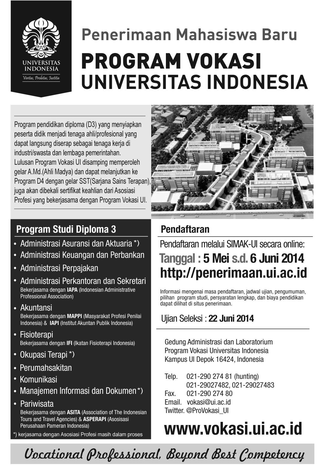 Penerimaan Mahasiswa Baru Program Vokasi Universitas Indonesia