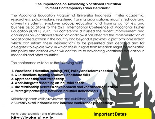 Call for Papers: The 2nd International Conference on Vocational Higher Education (ICVHE) 2017