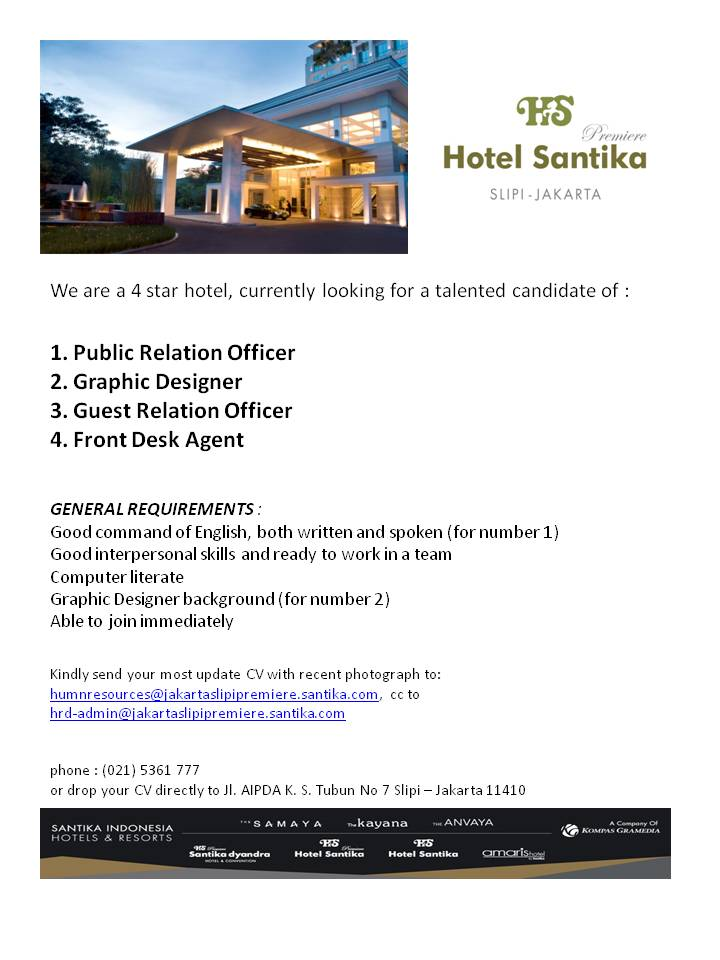 Lowongan Kerja Hotel Santika Premiere Slipi Jakarta Program Pendidikan Vokasi Universitas Indonesia