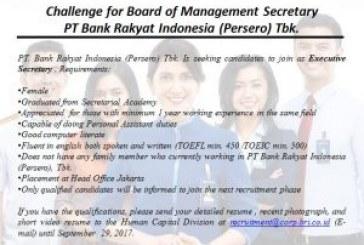 Lowongan Kerja Bank BRI Posisi Sekretaris Manajemen
