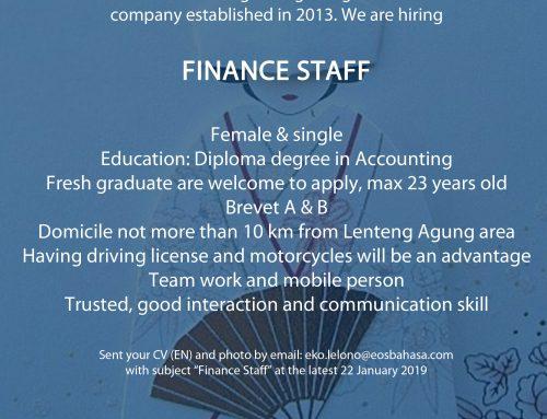 Lowongan Finance Staff