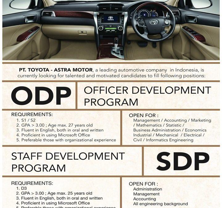 Lowongan PT Toyota – Astra Motor
