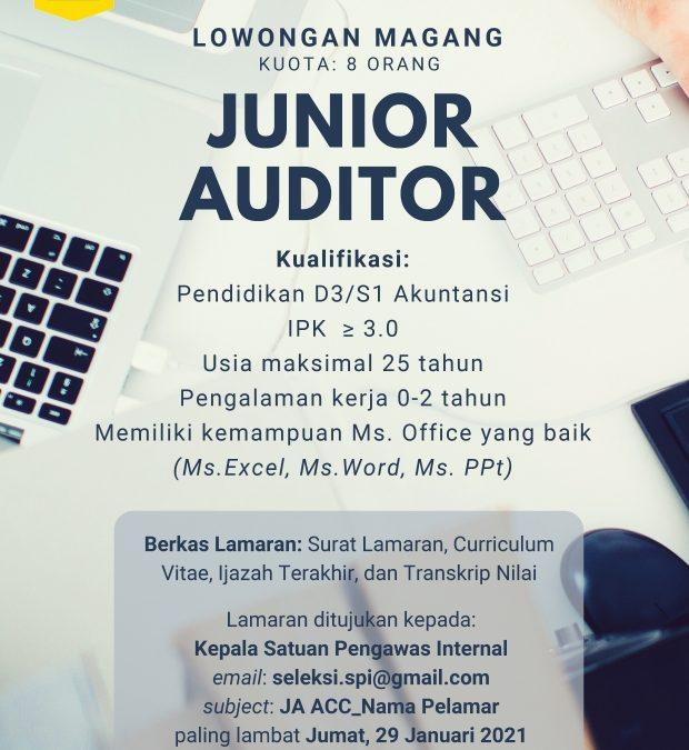 Lowongan Magang Junior Auditor
