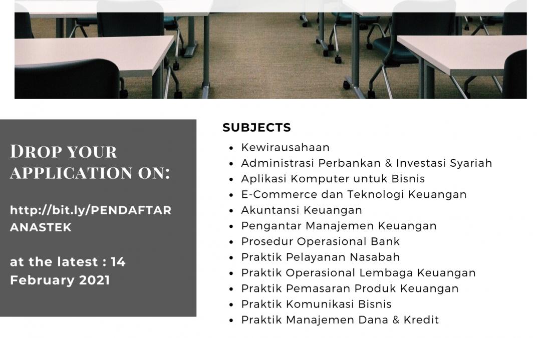 Lowongan Asisten Praktik Program Studi Administrasi Keuangan dan Perbankan